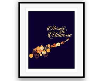 Across the Universe / The Beatles - Music Lyric Art Print, music poster, custom design art, lyric quote, Beatles art, wall decor