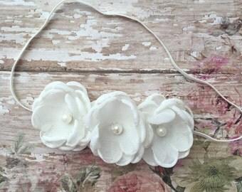 Ivory baby headband- off white baby headband- ivory newborn headband-off white newborn headband- ivory baptism headband-infant headband