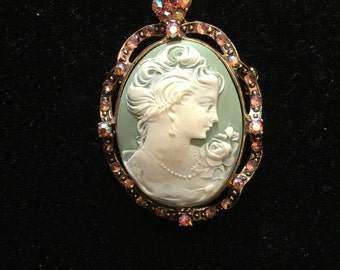 Beautiful Blue-Green Cameo Necklace with Aurora Borealis Accents