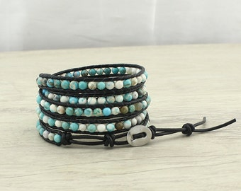 5 Strands turquoise wrap bracelet, Beaded Wrap Bracelet, Wrap leather bracelet, turquoise bracelet,handmade women's bracelet,  WYJ-B428
