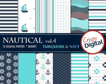 Sailing Digital Papers Turquoise and Navy Blue 12pcs 300dpi Digital Download Nautical Collage Sheets Scrapbooking Printable Paper