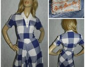 Vintage Betty Barclay 50s Blue/White check tea dress 8 1950s Original ROCKABILLY Bombshell SWING Iconic