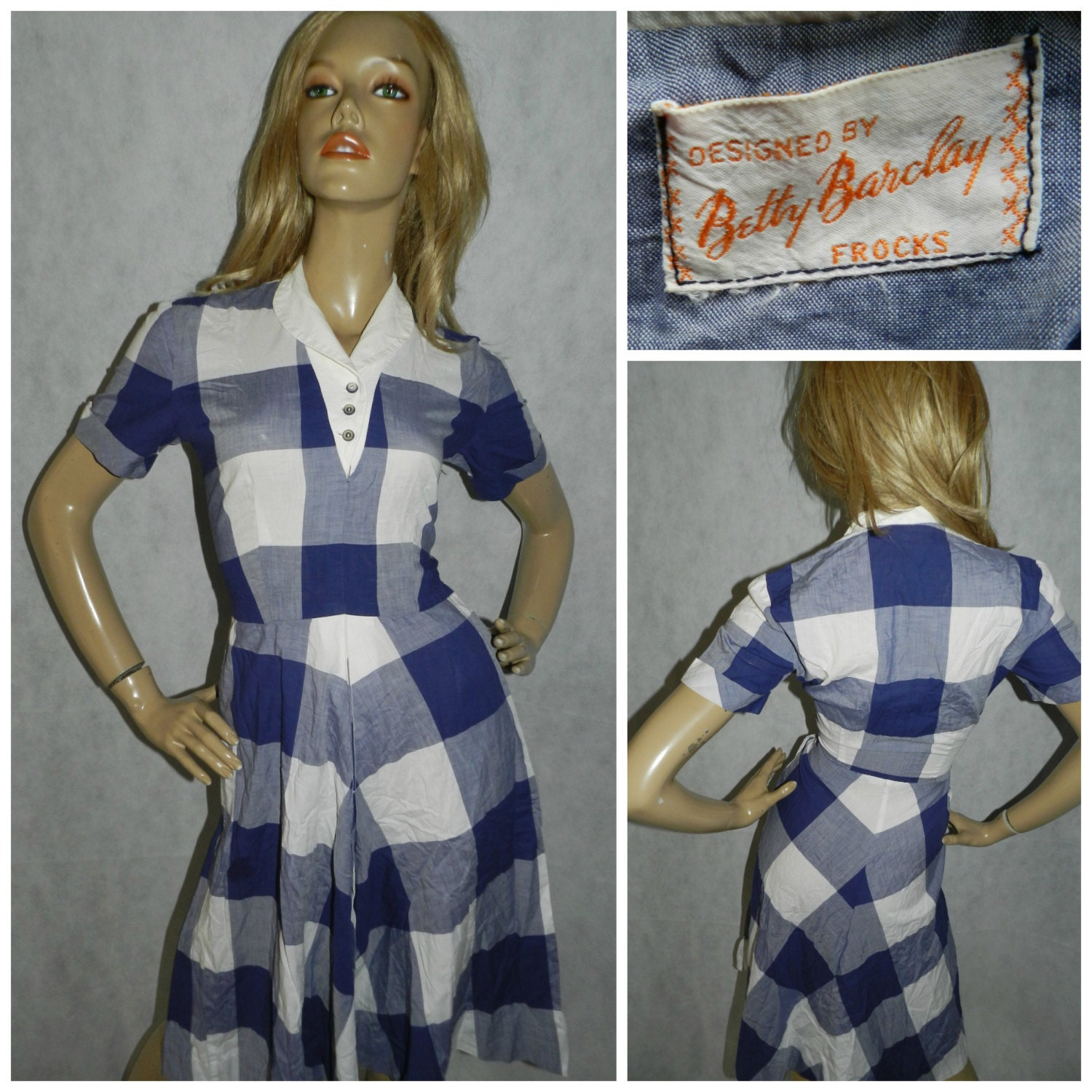 vintage betty barclay 50s blue white check tea dress 8 1950s original rockabilly bombshell swing. Black Bedroom Furniture Sets. Home Design Ideas