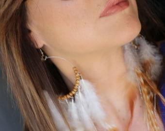 Circle Wood Beads Chain Feathers Earrings, boho earrings, gypsy earrings, trend feathers earrings