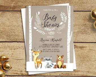 Winter Woodland Baby Shower Invitation, Winter Baby Shower Invite, Forest Woodland Animal, Fox Baby Shower, Deer Baby Shower,Birch Tree