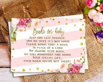 please bring a book card, Pink and Gold books for baby insert card, books for baby, please bring a book instead of a card, One Tiny Request