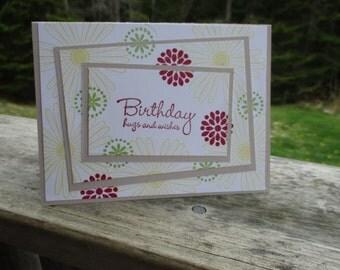 Birthday Hugs & Wishes  flower card