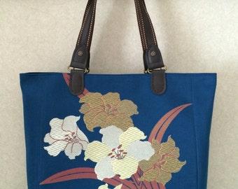 Japanese kimono obi , tote bag