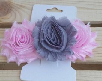 Freyed shabby flower barrett , chiffon flower barrett , hair accessory , wedding hair clip