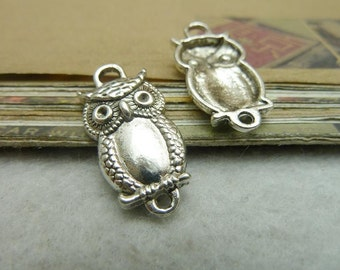 20 Owl Connector Charms Antique Silver Tone
