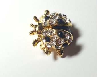 Vintage Black and Clear Rhinestone Lady Bug Pin Brooch
