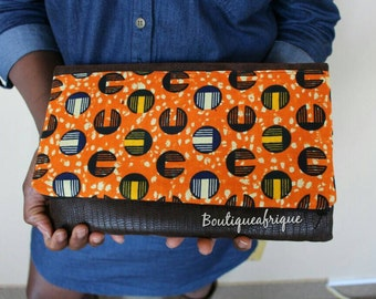 Orange Clutch Purse- Clutch Handbags- Bridesmaids Clutch- Leather Clutch- Wedding Clutch- African Print Clutch- Fold Over Clutch- Evening