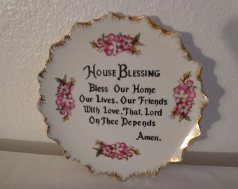 """Vintage Hand Painted """"House Blessing"""" Wall Hanging Plate"""