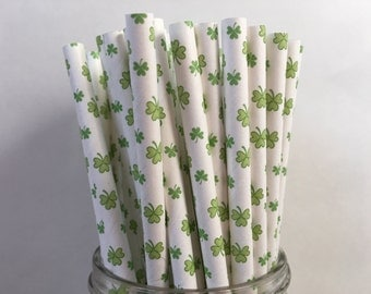 Shamrock Paper Straws, St Patrick's Day, St Patrick's Day Party, Shamrock Straws, Decorations for Saint Patrick's Day, Party decorations,10