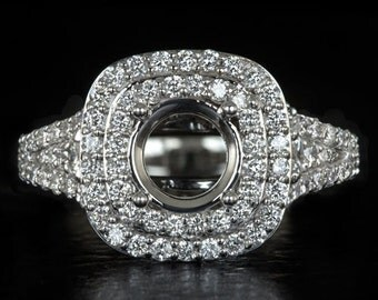 Double Halo 1.25ct Diamonds Round Cushion Cut Semi-Mount Engagement Ring 2 Row Setting 14K White Gold 9351