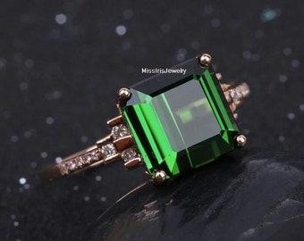 Green Tourmaline Engagement Ring