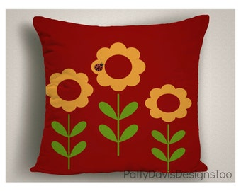 Red Throw Pillows with Abstract Flowers, Spring Decorations, Floral Pillows, Spring Pillow Covers