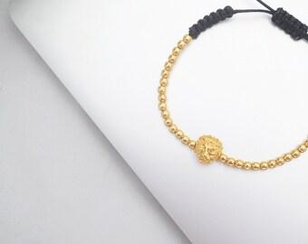 mens bracelet, womens bracelet, 18kt gold lion head with gold ball macrame bracelet