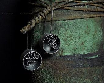 Long earrings Quilling Oxidized Sterling silver earrings