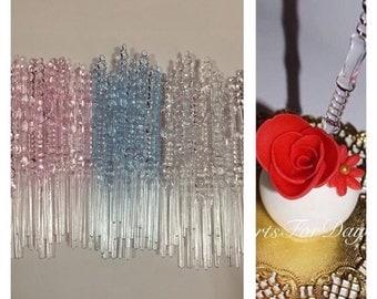 "Set of 50- 4"" Designed MIXED Color Sticks. Blue Sticks. Pink Sticks. Clear Sticks. Cake Pop Sticks. Rice Krispy Sticks"