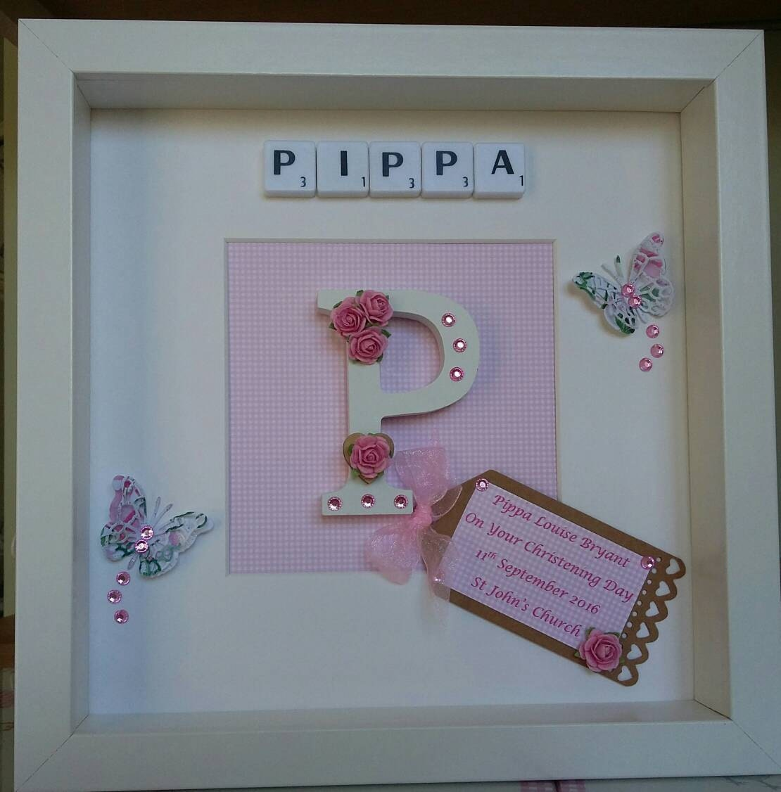 Baby Girl Christening Favors Glass Ornament: Personalised Scrabble Picture Baby Girl Christening Gift
