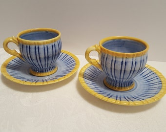 Stangl Sunflower Tea Cups and Saucers #3340