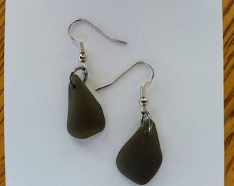 Natural Olive Green Sea Glass Earrings