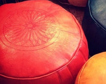 Large Fez red leather Moroccan pouf/pouffee/ottoman.   ready filled