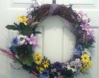 "Purple Paradise 18"" Grapevine Wreath Handcrafted"