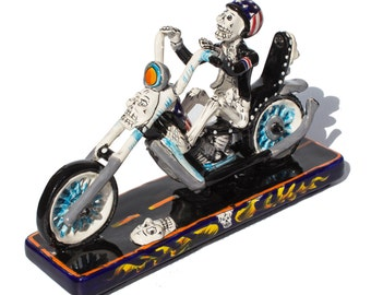 Skeleton on a Motorcycle |  Day Of The Death | Mexican Talavera
