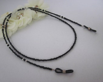 Black Beaded Eyeglass Chain, Swarovski Crystal, Eyeglass Holder, Lanyard, Eyeglass Leash,