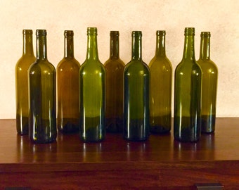 Empty Uncut Wine Bottles without Labels 9-pack *Expedited Shipping