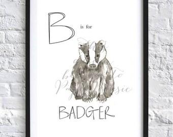 B Is For Badger Animal Alphabet Hand-Painted Watercolour Print Children's Bedroom Decor