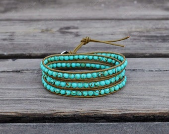 Leather Bracelet Turquoise Wrap Bracelet Turquoise Bracelet Jasper Leather Wrap Bracelet 4mm Beaded Bracelet with Brown Leather Cord