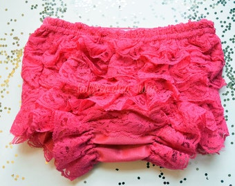 Hot Pink Bloomer Front and Back Lace Ruffle Bloomer Diaper Cover with Lace Ruffles All Around, Baby Toddler Ruffled Bloomer Fuscia Bloomer