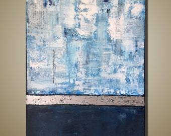Large Abstract Textured Painting Original Painting Blue White Silver Painting Acrylic Art on Canvas Contemporary Art Office Decor