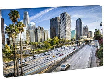 FO2347 Print On Canvas TRAFFIC Downtown Los Angeles California Cityscape