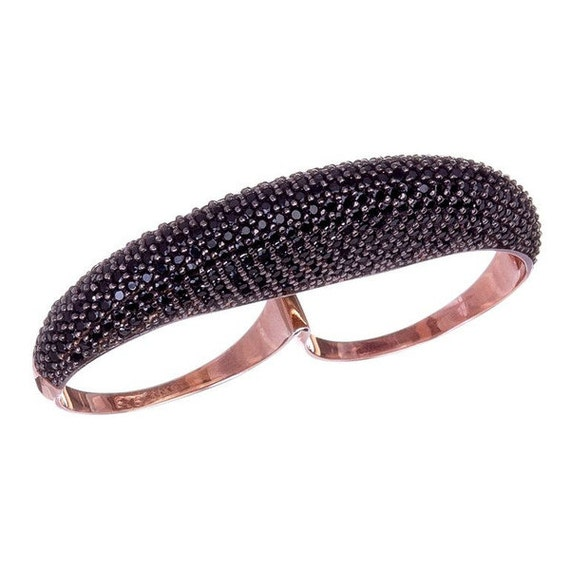 Double Finger Ring Cubic Zirconia Ring Green Ring Black Ring Rose Gold Ring Two Finger Ring Double Ring Statement Ring 2 Finger Ring
