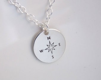 Compass Necklace, Sterling Silver Compass Pendant, Compass Charm, Graduation Gift, Graduate Gift, New Job Gift, Friend Gift, Good Luck Charm
