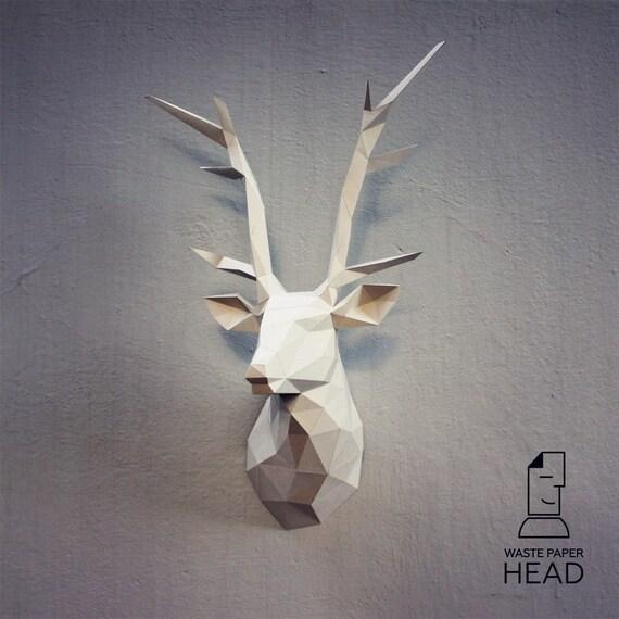 papercraft deer head printable diy template by wastepaperhead. Black Bedroom Furniture Sets. Home Design Ideas
