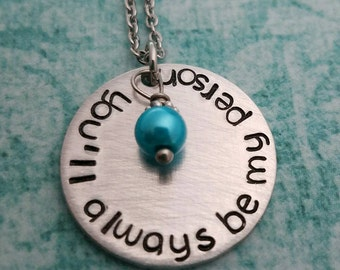SALE, You'll Always Be My Person Necklace, Christmas Gift For Her, Best Friend Necklace, Doctor Show Fans, Stamped Necklace