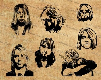 Digital image Kurt Cobain inspired, silhouette, clipart, vector, instant download