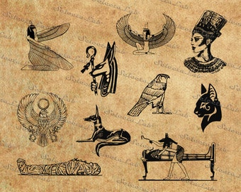 Digital SVG PNG mythical creature of ancient Egypt, god and demon, egyptian royalty, hieroglyphs, vector,clipart,silhouette,instant download