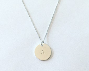 custom stamped initial name necklace in silver on dainty chain