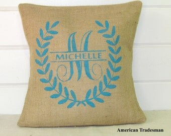 Burlap Pillow- Monogrammed Pillow, Laurel Wreath, Personalized Pillow, Christmas Gift, Bridal Gift, Personalized Gift