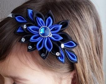 Midnight blue headband, Prom headband, Kanzashi headband, Flower headband, gifts for girls, Photo prop, metal headband, headpieces for prom