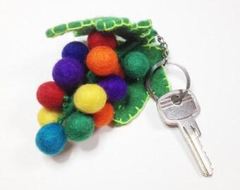 KEY chain felt grape - Handmade wool, handmade, Easter, gift, accessories, colorful felt balls, beads, balls, felt, felted, eggs