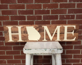 HOME, state wooden sign