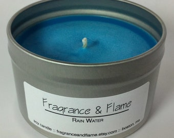 Rain Water || Soy Candle, 8 oz. Tin, Hand Poured || Natural, Clean, Eco-friendly