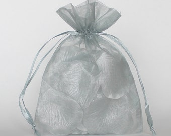Organza Gift Bags, Silver Sheer Favor Bags with Drawstring for Packaging, pack of 50